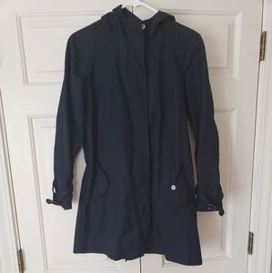 J Crew Navy Blue Hooded Coat s 2 with belt